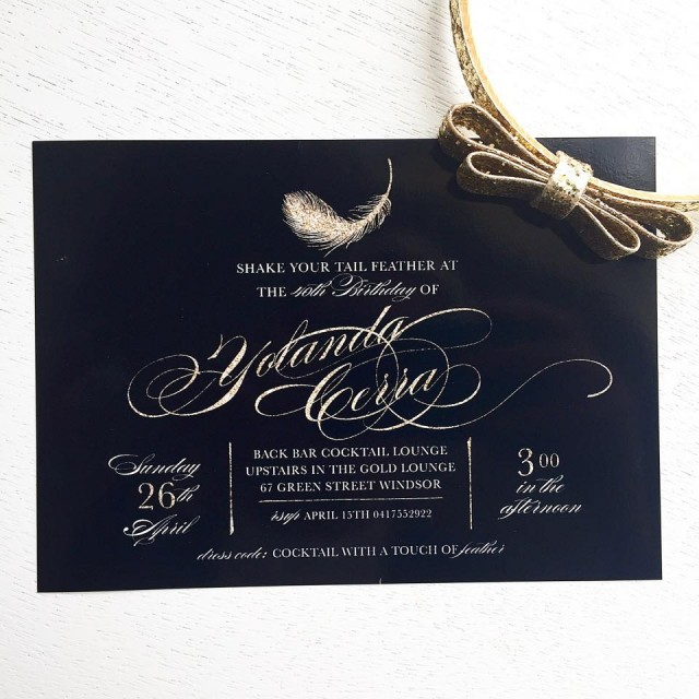 feather party invitation