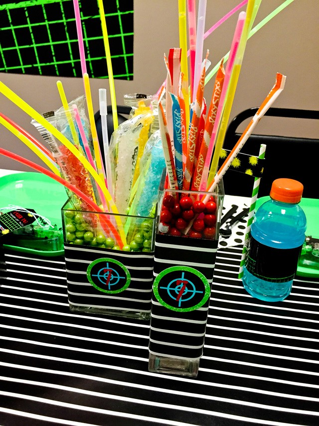 laser tag candy centerpieces