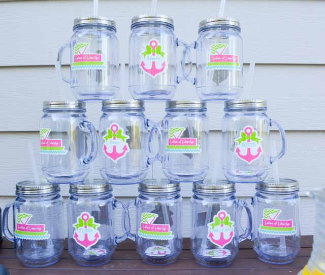 Personalized mason jar cups