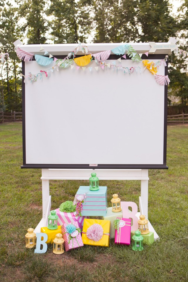 Movie screen with gifts
