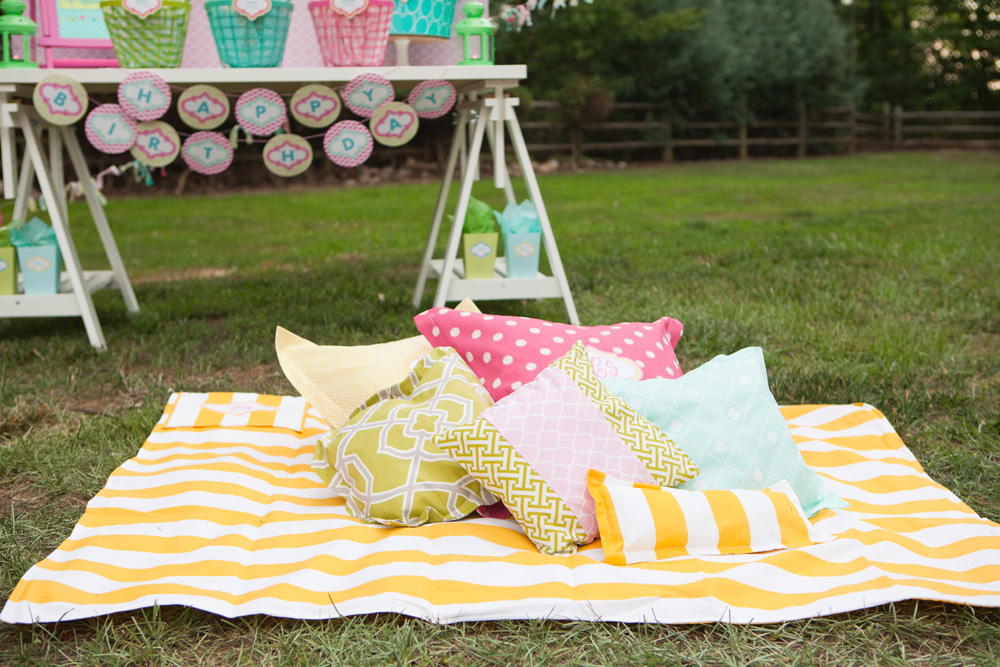 Outdoor Movie Night Monogrammed Pillows Blankets