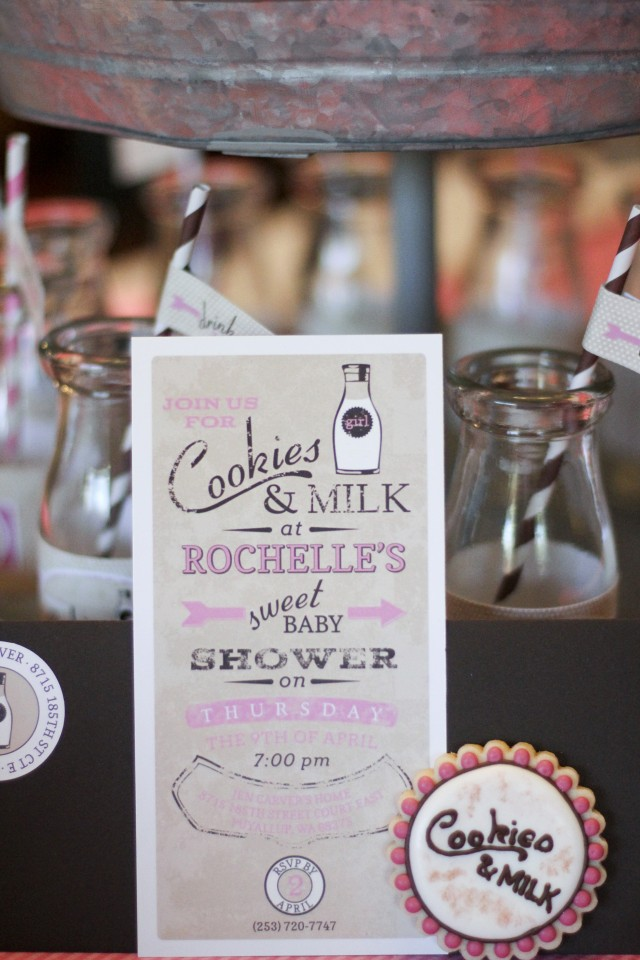 cookies & milk baby shower invitation