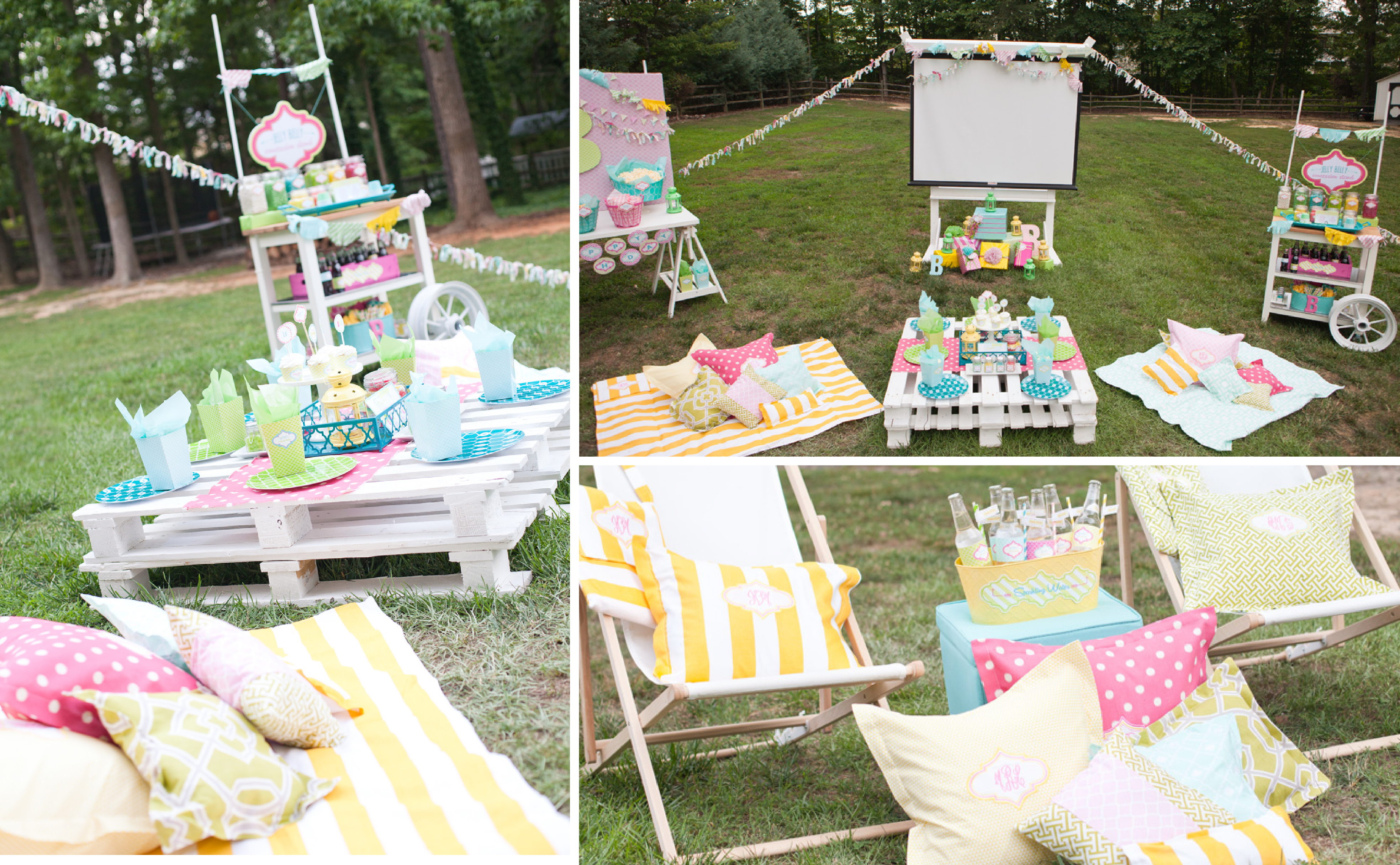 Outdoor Movie Night Monogrammed Pillows, Blankets & Tshirts by Great