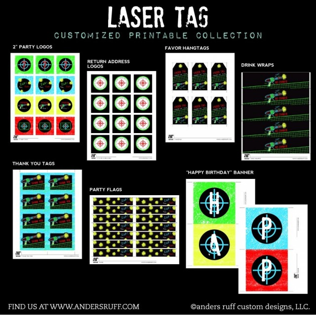 Laser Tag Party Invitation and Printables in the Shop Anders – Laser Tag Birthday Invitations Free