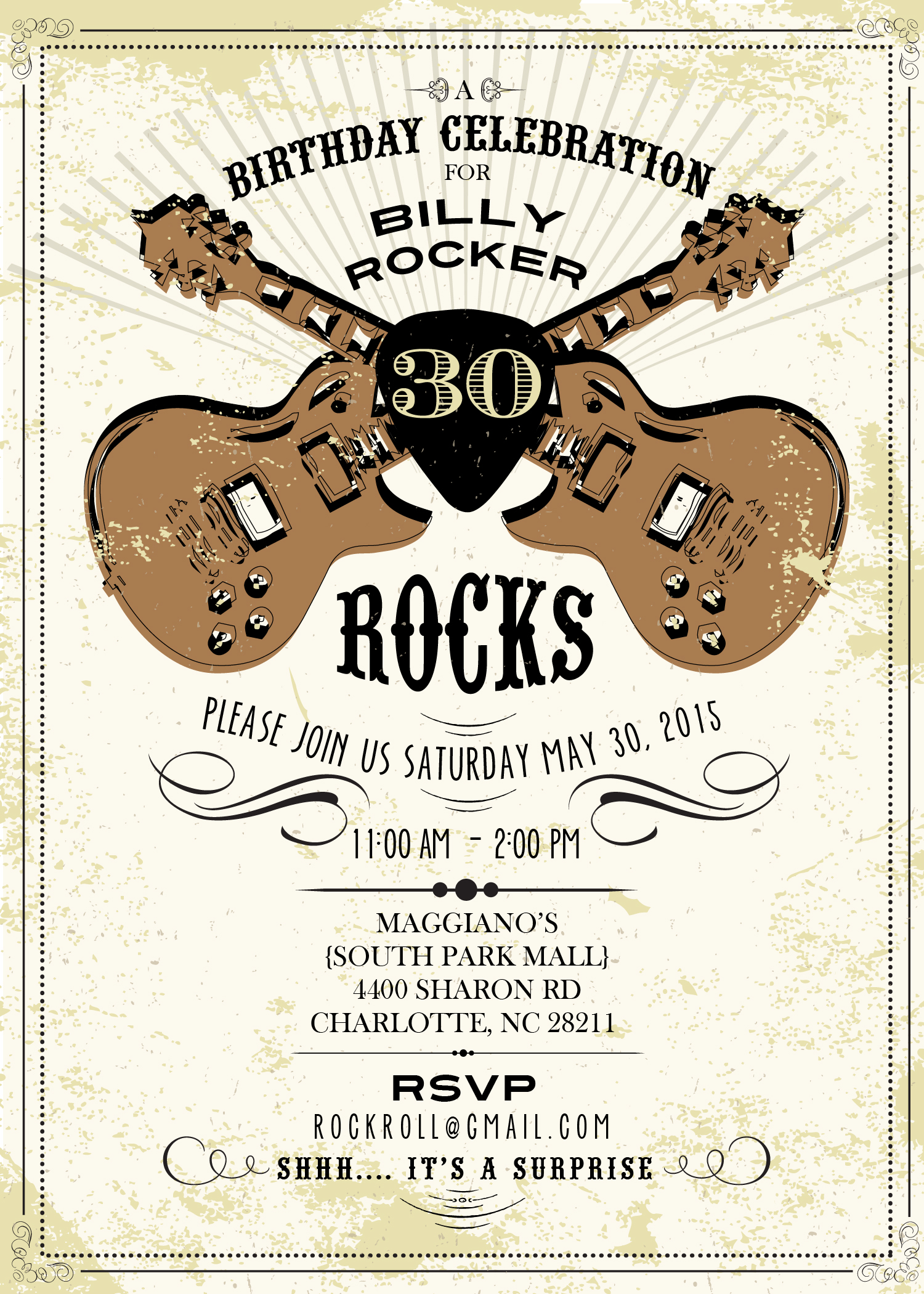 A Vintage Rock and Roll 50th Birthday featuring Tommy Decarlo – Rock and Roll Party Invitations