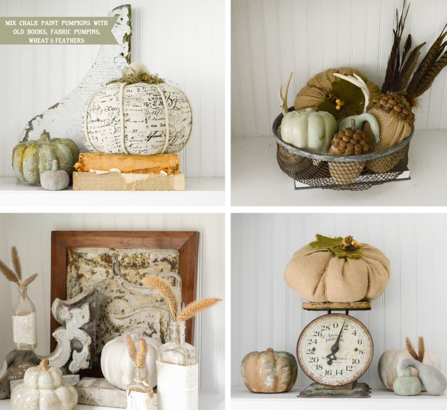Detailed shots of shelves with chalk paint pumpkins