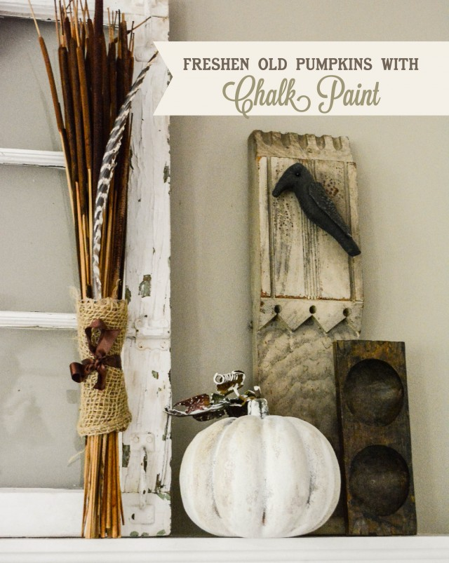 Decorating for halloween with chalk paint pumpkins