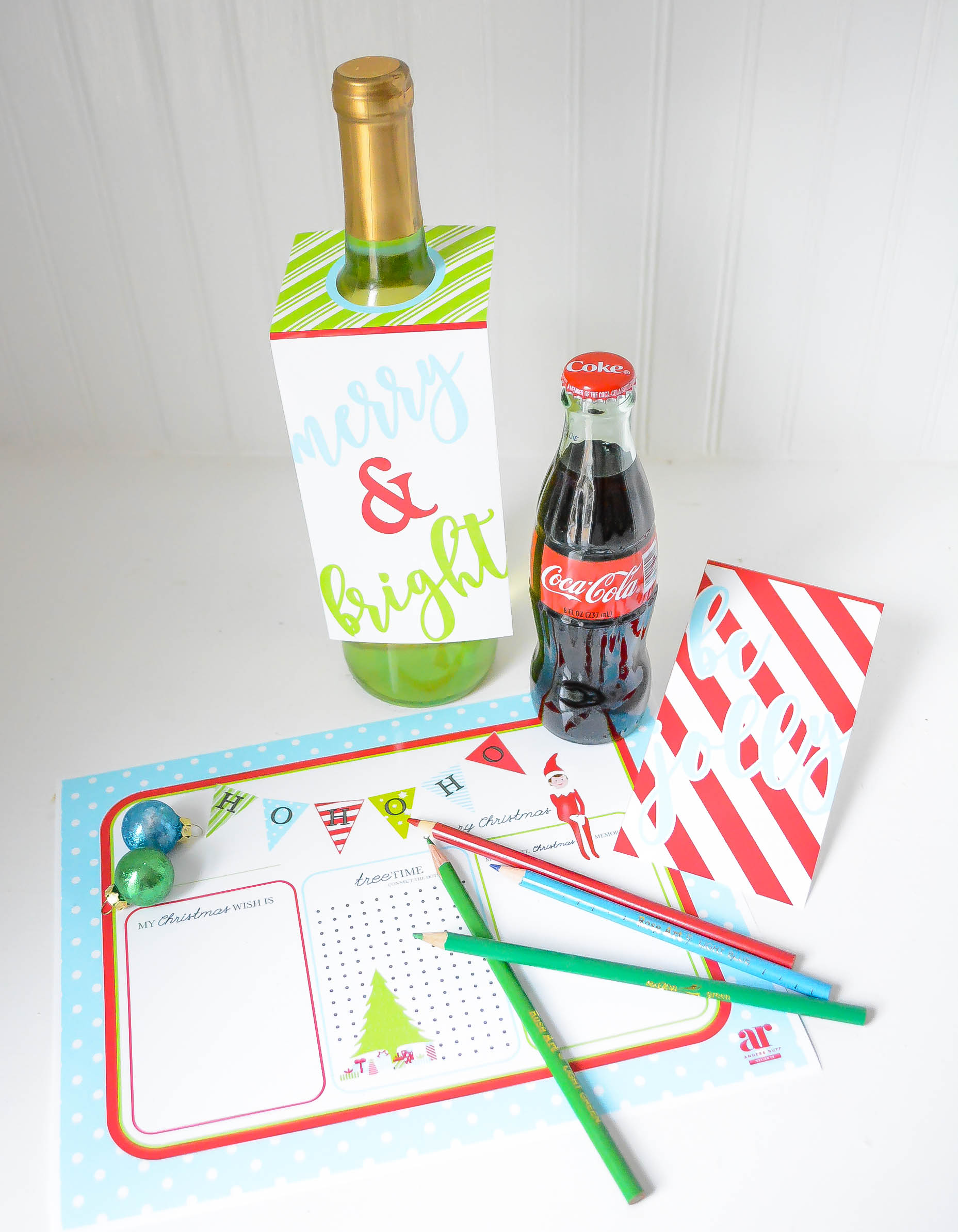 Ruff draft free christmas printables place mat amp bottle tags