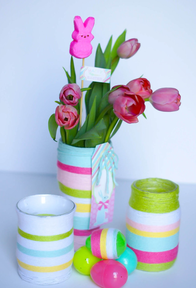 DIY yarn wrapped vases for easter