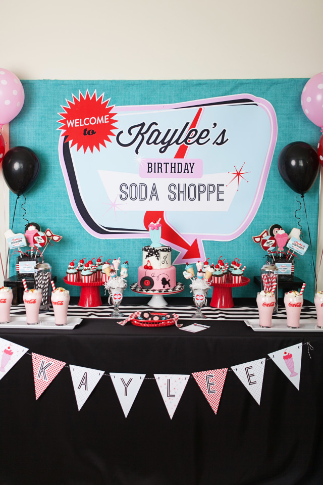 A retro soda shoppe birthday party anders ruff custom for 50s party decoration ideas