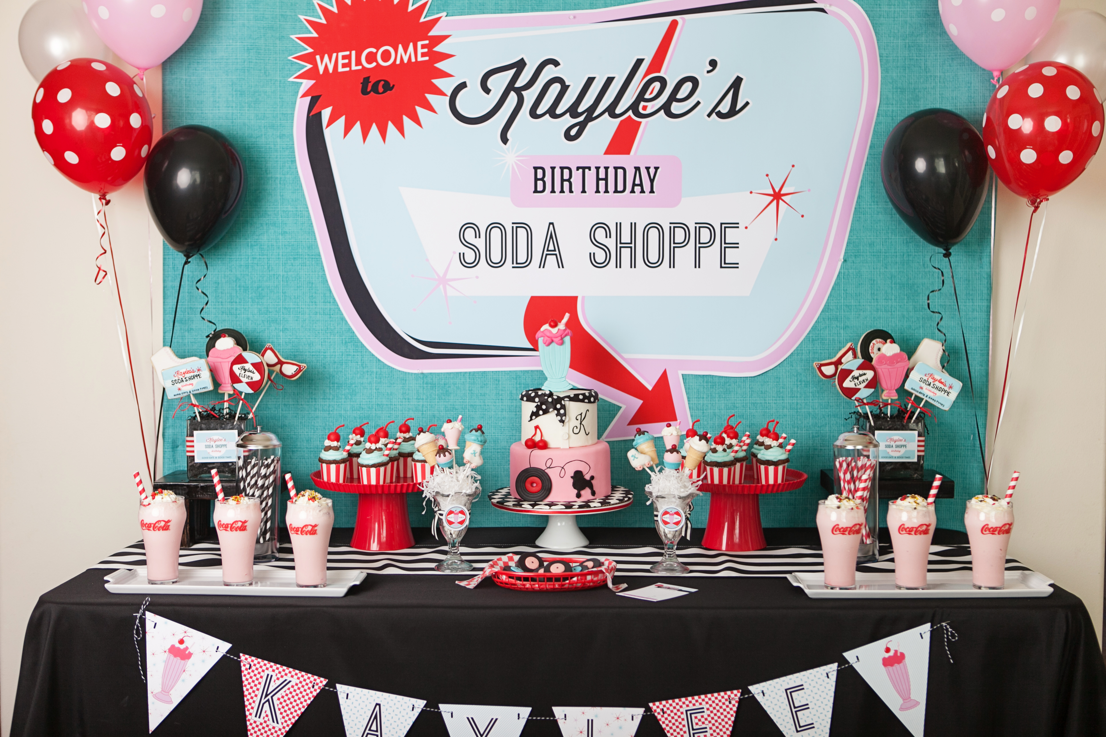 A retro soda shoppe birthday party anders ruff custom for 1950s party decoration