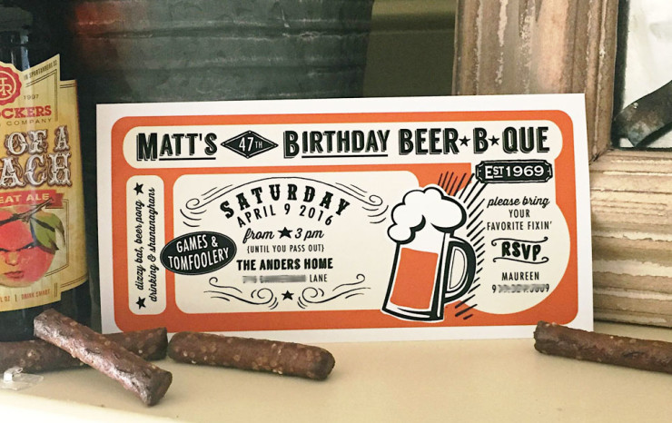 beer b que man invitation