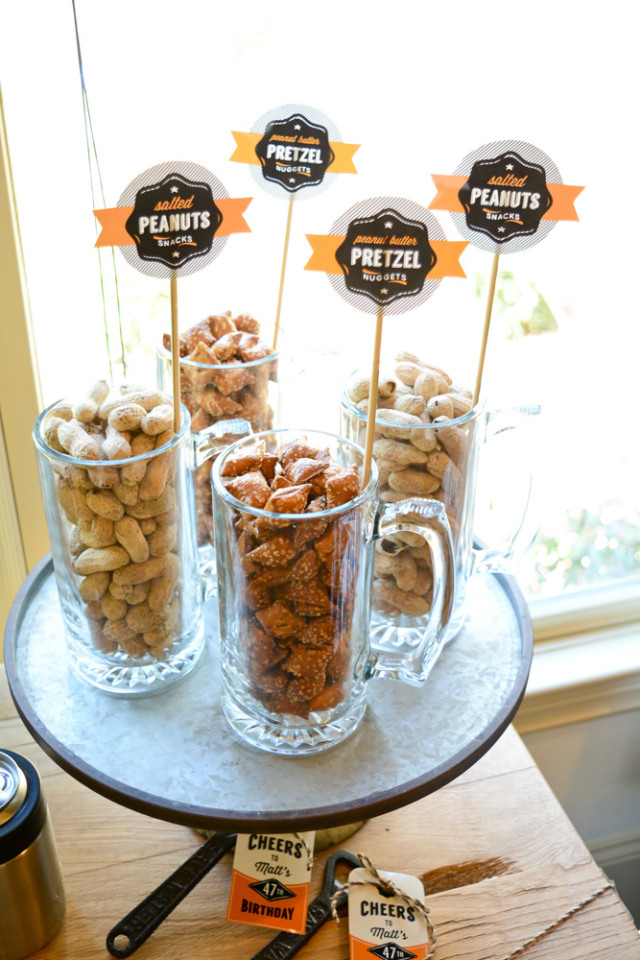snacks in beer glasses