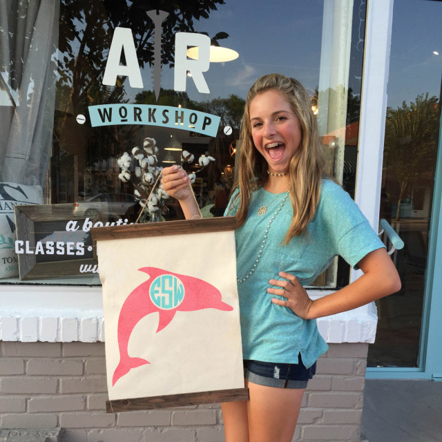 ar workshop dolphin monogram sign