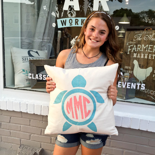 ar workshop monogram pillow